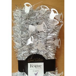 Christmas Tree Tinsel - Silver & White Bell 2m