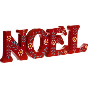NOEL Red Wooden Letter Block Christmas Decoration