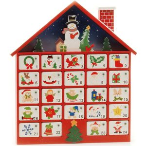 Advent Calendar - Wooden House with Numbered Drawers