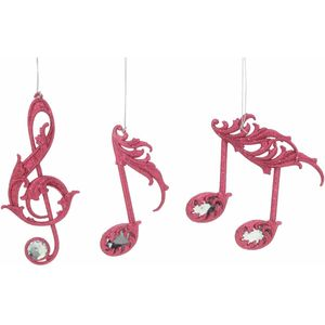 Christmas Tree Hanging Decorations - Pink Glitter Music Note Pack of 3 Assorted