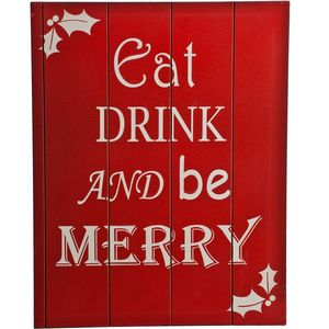 Christmas Decoration - Wooden Wall Art Eat Drink & Be Merry