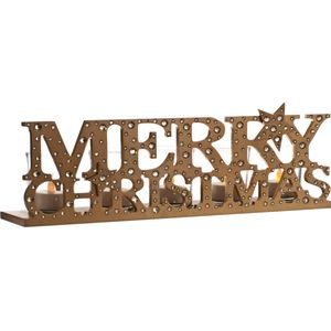 Gold Merry Christmas Candle Tealight Holder