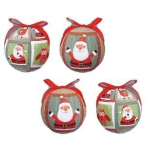 Santa & Owl Decoupage Christmas Tree Baubles Pack of 4