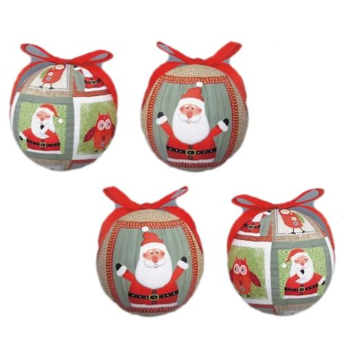 Christmas Tree Baubles - Decoupage Santa & Owl Pack of 4 Assorted