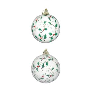 Set of 14 Holly Design Decoupage Christmas Tree Baubles