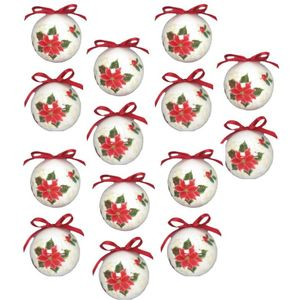 Christmas Tree Baubles - Decoupage Poinsettia Flower Pack of 14