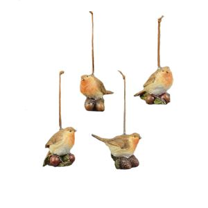 Christmas Robins on Nuts Tree Decorations set of 4