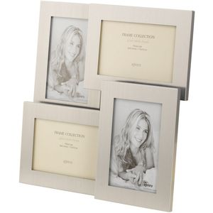 "Kenro Rocco Collection Multi Photo Frame Holds 4 Photos 6"" x 4"" - Silver"
