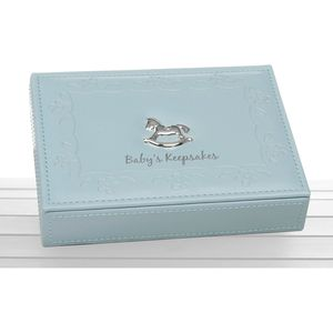 Faux Leather Babys Keepsakes Box - Blue