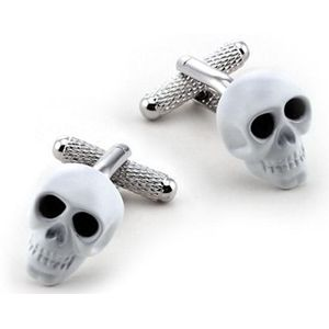 White Skull with Black Crystal Eyes Novelty Cufflinks