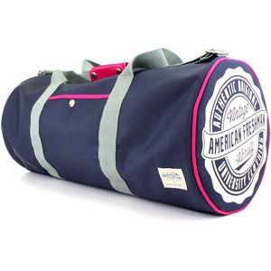 American Freshman Oakland Barrel Bag - Navy & Pink