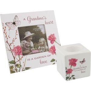 Grandma Gift Set - Candle Holder & Photo Frame