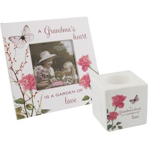 "Grandma Gift Set - Tea Light Candle Holder & Photo Frame 5"" x 5"""