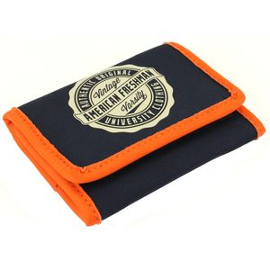 Oakland Trifold Wallet in Navy & Orange