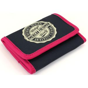 Oakland Trifold Wallet in Navy & Pink