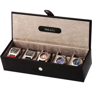 Mele & Co Gents Bonded Leather Watch Box (Holds 5 Watches) - Manhattan