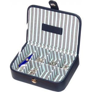 Mele & Co Blue Stripe Collection Cufflink Box
