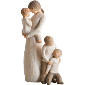 Willow Tree Figurines Set Mother & Baby (Boy or Girl) with Two Sons