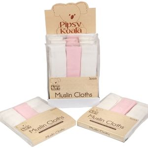 Pipsy Koala Pack of 3 Muslin Cloths (Pink & White)