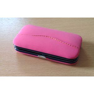 Leatherette 6 Piece Manicure Set - Pink
