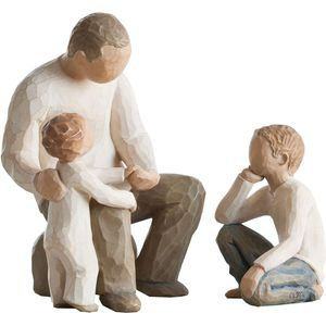 Willow Tree Figurines Set Grandfather with Two Grandchildren