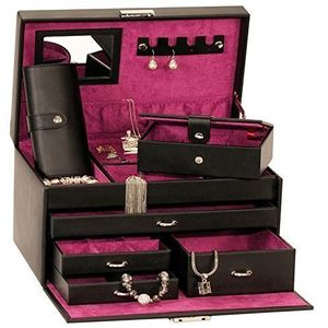 Mele & Co Empress Leather Jewellery Box Case (Black)