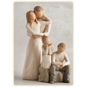 Willow Tree Figurines Set Mother & Father with Son & Daughter Option 3