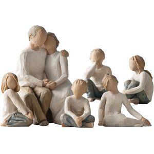 Willow Tree Figurines Set Grandparents with Five Grandchildren