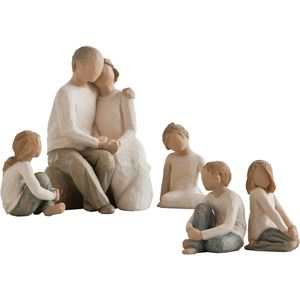 Willow Tree Figurines Set Grandparents & Four Grandchildren Opt 1