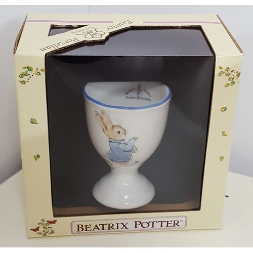 Reutter Porcelain Peter Rabbit design Egg Cup with blue rim