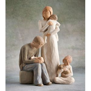 Willow Tree Figurines Set Parents with Three Children & Pet Cat