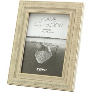 Kenro Emilia Collection Distressed White Wood Finish Photo Frame 5x7""