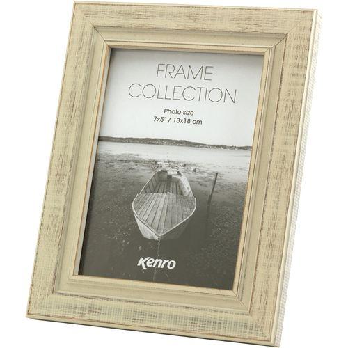 "Kenro Emilia Collection Distressed White Wood Finish Photo Frame 5x7"""