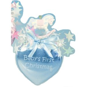 Babys First Xmas Heart Bauble with Rocking Horse blue