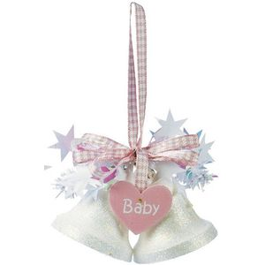 Weiste Christmas Tree Decoration - Mini Bells with Hanging Heart Baby Pink