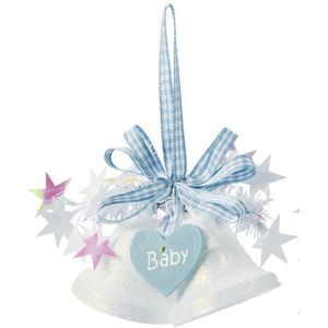 Weiste Christmas Tree Decoration - Mini Bells with Hanging Heart Baby Blue