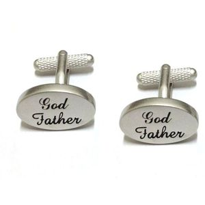 God Father Christening Cufflinks - Silver Finish