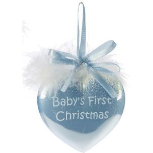 Babys First Christmas Heart Bauble (blue)
