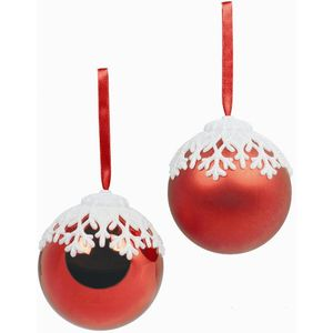 Red Christmas Tree baubles with Snowflake Top Set of 2