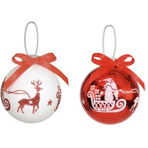 Red & White Santa & Reindeer Xmas Tree Baubles x2