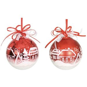 Red & White Village Scene Xmas Tree Decorations x2