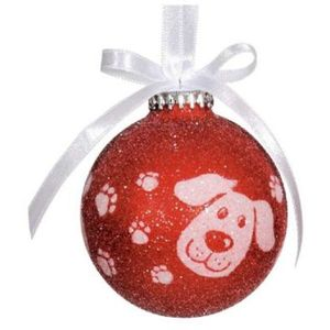 Red & White Christmas Dog Tree Decoration