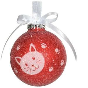 Red & White Cat Christmas Tree Decoration