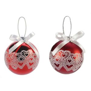 Red & White Lace Hearts design Xmas Tree Ornaments x2