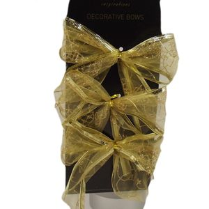 Decorative Gold Bows with Baubles Design Set of 6