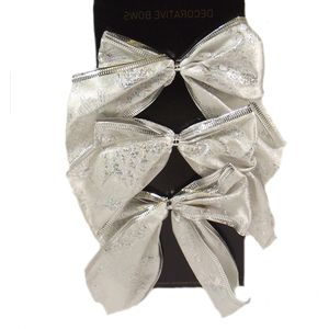 Christmas Decoration - Organza Bows Silver with Swirls Pack of 6