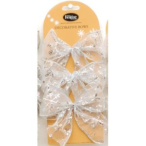 Set of 6 Silver Organza Bows with Snowflakes Design