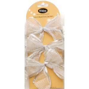 Christmas Decoration - Organza Bows Silver with Stars Pack of 6