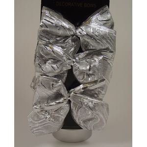 Christmas Decoration - Organza Bows Silver Pack of 6