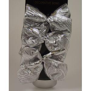 x6 Silver Organza bows (Swirly line)